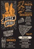 Pizzamenü-Lebensmittelschablone für Restaurant mit Gekritzel von Hand gezeichneter g Vektor Abbildung