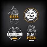 Pizzamenü-Restaurantausweise Lebensmitteldesignschablone Vektor mit g Stockfoto