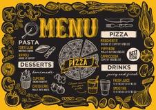 Pizzameny för restaurang med ramen av grafiska grönsaker royaltyfri illustrationer