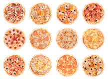 Pizzanahrung alle Pizzas Stockfotografie