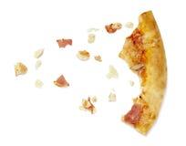 Pizzanahrungsmittelmahlzeit gegessene Krumen Lizenzfreies Stockbild