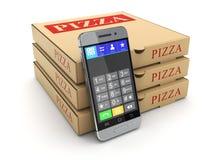Pizzapakket en mobiele telefoon Royalty-vrije Stock Foto