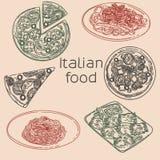 Pizzapasta och ravioli stock illustrationer