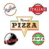 Pizzarestaurangetiketter Fotografering för Bildbyråer