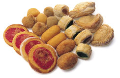 Pizzas. Various types of pizza, potato croquettes, snacks Royalty Free Stock Photos