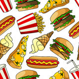 Pizzas, burgers, hot dogs, drinks seamless pattern Stock Photography