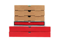 Pizzas cardboard boxes. Isolated on white background Royalty Free Stock Images