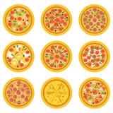 Pizzas délicieuses de bande dessinée avec différents ingrédients Concept de plat italien traditionnel ou d'aliments de préparatio illustration de vecteur