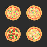 Pizzas with different toppings including Margherita, bacon, onion, tomatoes. Top view. Vector illustration. Royalty Free Stock Image