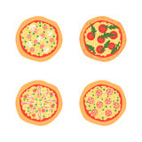 Pizzas with different toppings including Margherita, bacon, onion, tomatoes. Top view. Vector illustration Royalty Free Stock Photography