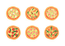 Pizzas with different toppings including Margherita, shrimp, bacon, onion, tomatoes. Top view. Vector illustration. Royalty Free Stock Images