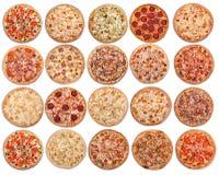 20 pizzas en un fondo blanco Visión desde arriba fotos de archivo libres de regalías