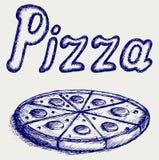 Pizzas. Estilo da garatuja Fotografia de Stock
