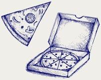 Pizzas. Estilo del garabato Imágenes de archivo libres de regalías
