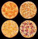 Pizzas fijadas Fotos de archivo