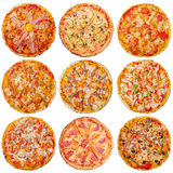 Pizzas isolated on white background Royalty Free Stock Photos