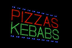 Pizzas kebabs sign Stock Photo