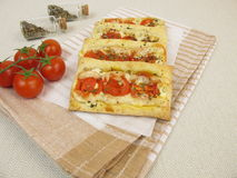 Pizzas from puff pastry with tomato and cheese Royalty Free Stock Photos
