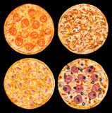 Pizzas set Stock Photos