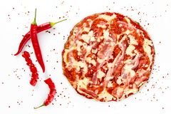 Pizzasalami med röd peppar på vit royaltyfri bild