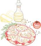 Pizzaschets, Overzicht en Krabbel Vectorillustratie Royalty-vrije Stock Afbeelding