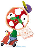 Pizzascooter. Character with a face like a pizza delivery pizza in town at home Stock Photography