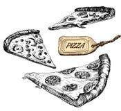 Pizzaskivor. Uppsättning av vektorillustrationer Arkivbild