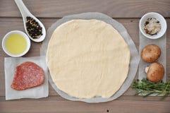 Pizzateig und -bestandteile lizenzfreie stockfotografie