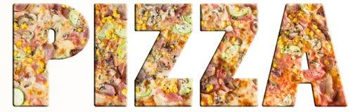 Pizzatext Royaltyfri Foto