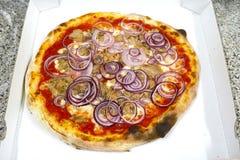 Pizzathunfisch und italienische Lebensmittelpizza der Zwiebel, Schinken vermehrt sich Oliven explosionsartig stockbilder