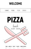 Pizzawebsite mit Menülinie, Gabel und minimaler Art des Messers auf weißem Hintergrund Lizenzfreies Stockfoto