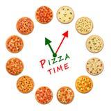 Pizzazeit Uhr vom italienischen Lebensmittel Lizenzfreie Stockfotografie