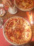 Pizze e caffè italiani Fotografia Stock Libera da Diritti