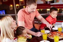 At pizzeria Royalty Free Stock Images