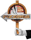 Pizzeria - Arrow Sign with Hand of Waiter Royalty Free Stock Photos