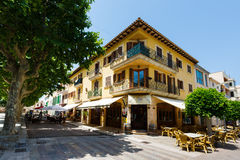 Pizzeria in the Atra town, Mallorca. Arta, Mallorca, Spain - July 04 2015: View of pizzeria La Placa in the oldest town of Mallorca at the summer day Stock Photos