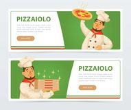 Pizzeria banner template with italian chef Royalty Free Stock Images