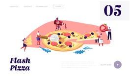 Pizzeria-Bistro-Website-Landungs-Seite, die kleinen Leute, die enorme Pizza essen, schnitt mit Messer, setzte Ketschup und Käse,  vektor abbildung