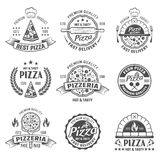 Pizzeria Black White Emblems Royalty Free Stock Photos