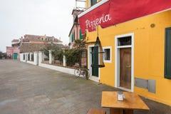 Pizzeria in Burano-eiland Stock Afbeelding