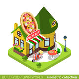 Pizzeria cafe restaurant shop pizza shape building Royalty Free Stock Images