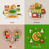 Pizzeria Concept Icons Set Stock Images