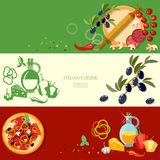 Pizzeria cooking pizza italian cuisine ingredients banners Royalty Free Stock Images