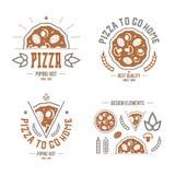 Pizzeria etykietki, odznaki i projektów elementy, royalty ilustracja