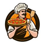Pizzeria, fast food logo or label. Happy chef holding pizza and scapula in hands. Vector illustration. Pizzeria, fast food logo or label. happy chef holding vector illustration