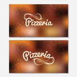 Pizzeria hand drawn lettering logo. Business card. Royalty Free Stock Images