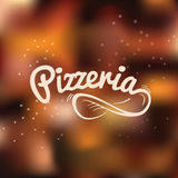 Pizzeria hand drawn lettering logo. Stock Image
