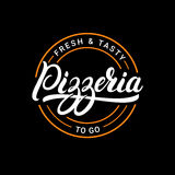 Pizzeria hand written lettering logo, label, badge or emblem. On black background. Vector illustration stock illustration