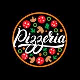 Pizzeria hand written lettering logo, label, badge or emblem. Isolated on black background. Vector illustration royalty free illustration