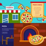 Pizzeria horizontal banners set Stock Photos